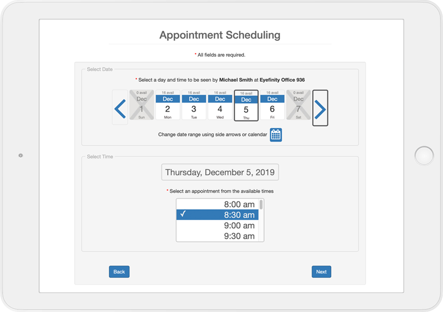 Eyefinity Practice Management - Appointment Scheduling
