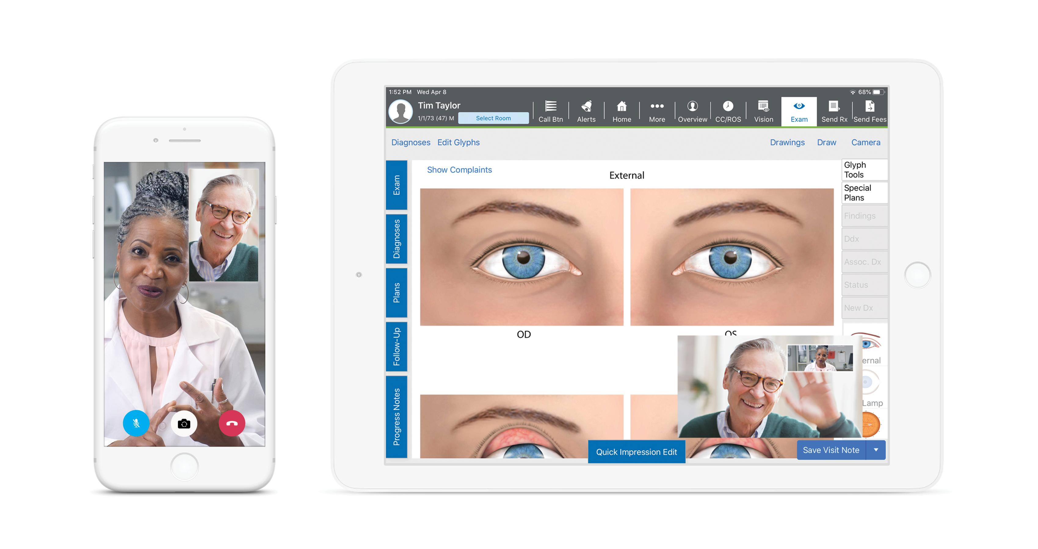 telehealth video chat capability on Eyefinity EHR iPad App and Pocket Patient App